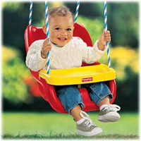 Fisher price infant to toddler swing in red for Baby garden swing amazon