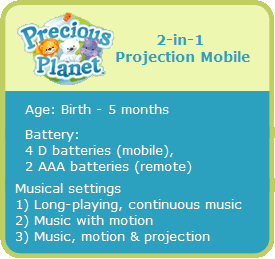 B001GQ2SA2 callout Fisher Price Precious Planet 2 in 1 Projection Mobile