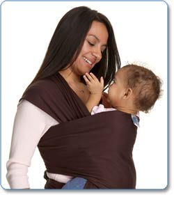 Moby Wrap Original 100 percent Cotton Solid Baby Carrier, Chocolate Lifestyle Shot