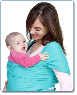 Moby Wrap UV SPF 50+ 100 percent Cotton Baby Carrier, Turquoise Lifestyle Shot