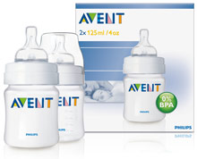 Philips AVENT BPA-Free 4-Ounce Natural Feeding Bottles with Newborn-Flow Nipples
