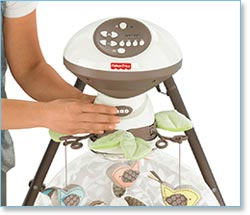 Fisher Price My Little Snugabunny Cradle 'n Swing - Easy-to-reach button