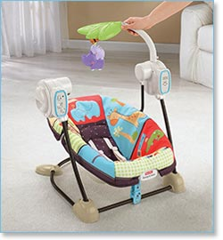 Fisher Price Love U Zoo Spacesaver Swing and Seat - Toy bar swivels for easy access to baby
