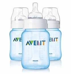 Philips AVENT 9-Ounce BPA Free Bottles Blue (3 Pack) Product Shot