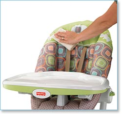 Fisher Price EZ Clean High Chair, Vine - Easy cleanup with stain-resistant fabric and harness