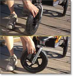 swiveling front wheel