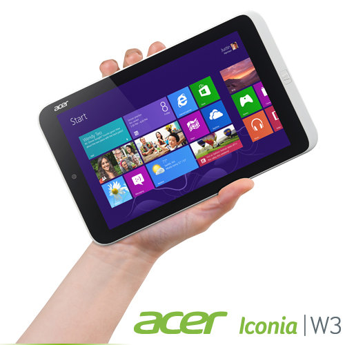 B00CM1BN5G image 1 Acer Iconia W3 810 1600 8.1 Inch 32 GB Tablet (Silver)