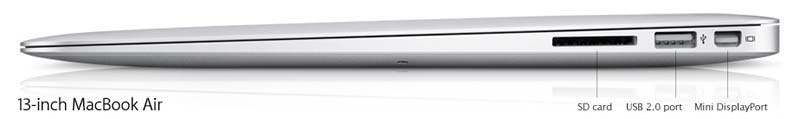 13.3-inch Apple MacBook Air ports