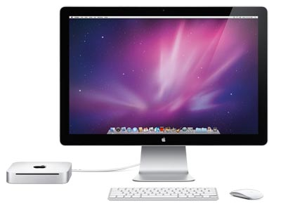 Apple Mac mini with display and peripherals