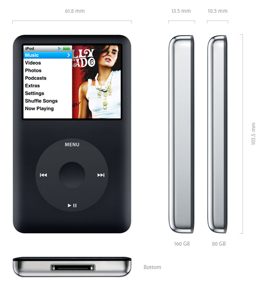 With 80GB or 160GB of storage, iPod classic