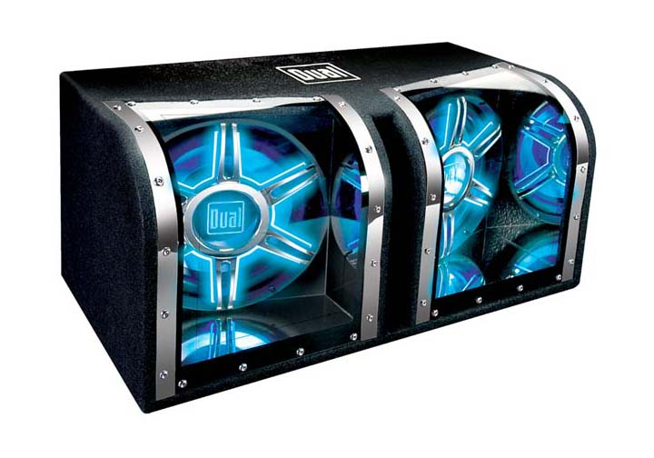light up dual 12 inch subs in box  light  free engine