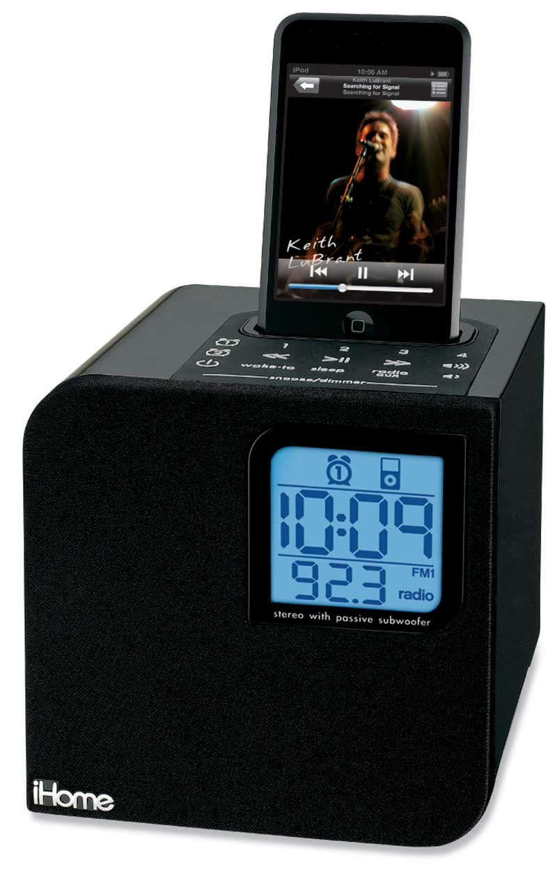 ihome ih12 cube clock radio with dock for ipod black computer speakers mp3. Black Bedroom Furniture Sets. Home Design Ideas