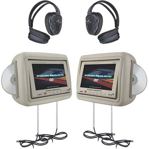 a pair of headrest dvd multimedia systems with adjustable poles to fit most vehicles click to
