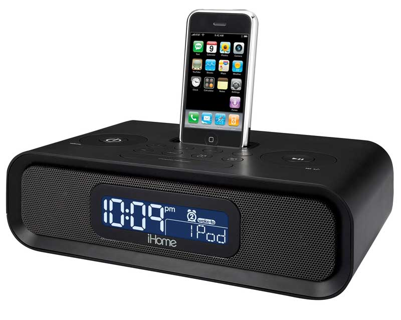 ihome ip98br dual alarm clock radio with dock for ipod and iphone black mp3. Black Bedroom Furniture Sets. Home Design Ideas