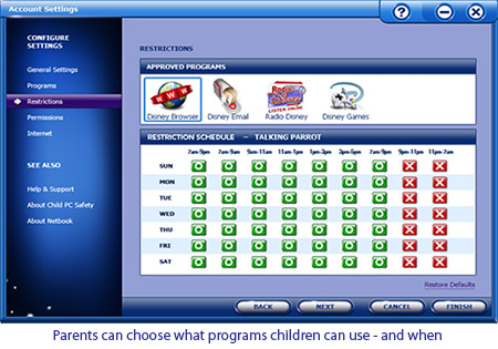 Choose When and What Programs the Kids can Use.