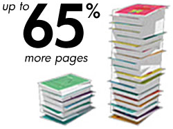 Original HP ink cartridges yield 65% more pages than bargain inks