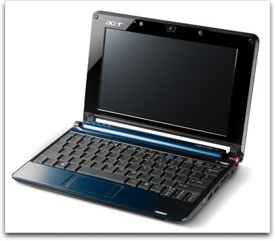 Acer Aspire One 8.9-inch Mini Laptop (1.6 GHz Intel Atom N270 Processor, 1 GB RAM, 160 GB Hard Drive, XP Home, 6 Cell Battery)