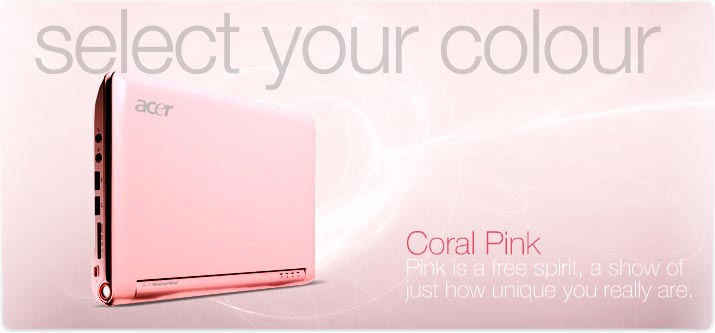 Pink Computers | Acer Aspire One AOA150-1690 8.9-Inch Netbook - Pink | Jasmine Zone