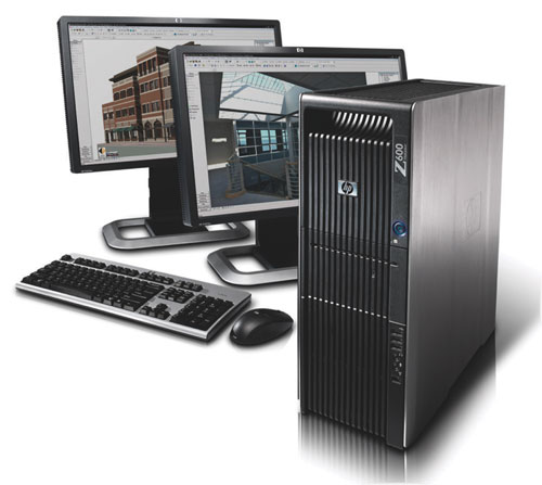 The HP Z600 Workstation with dual monitor capability (monitors not