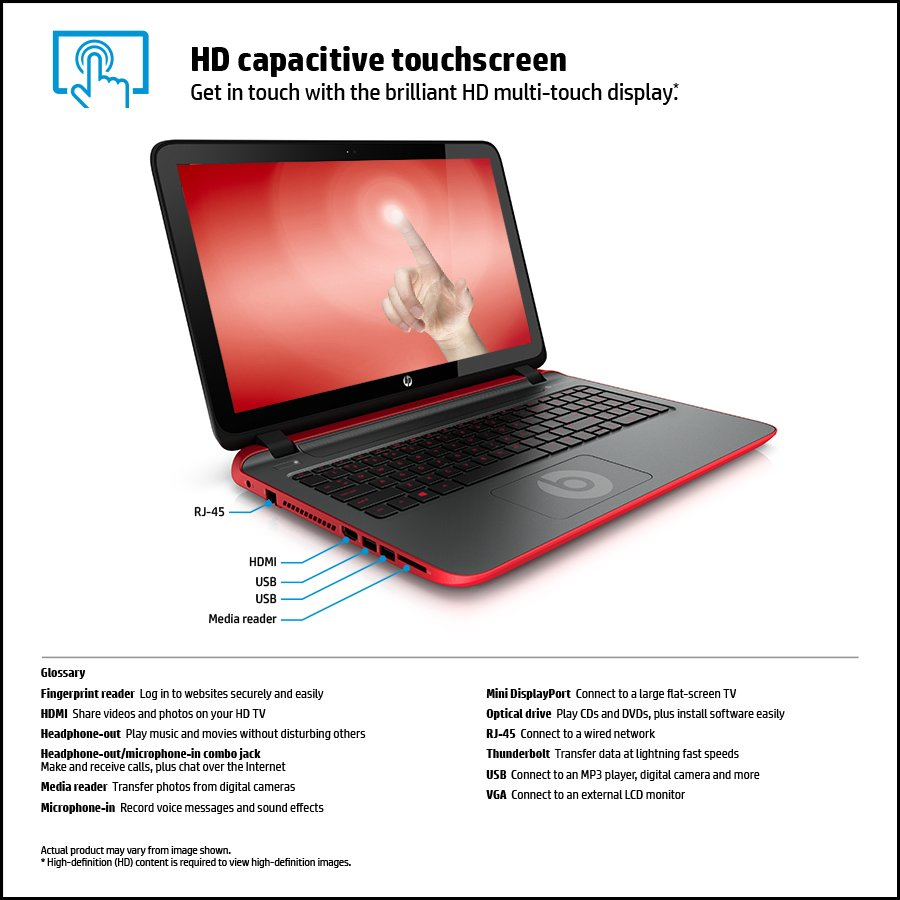 HP 15-p030nr Beats Special Edition AMD A8, 15.6 Touch-screen Notebook ...