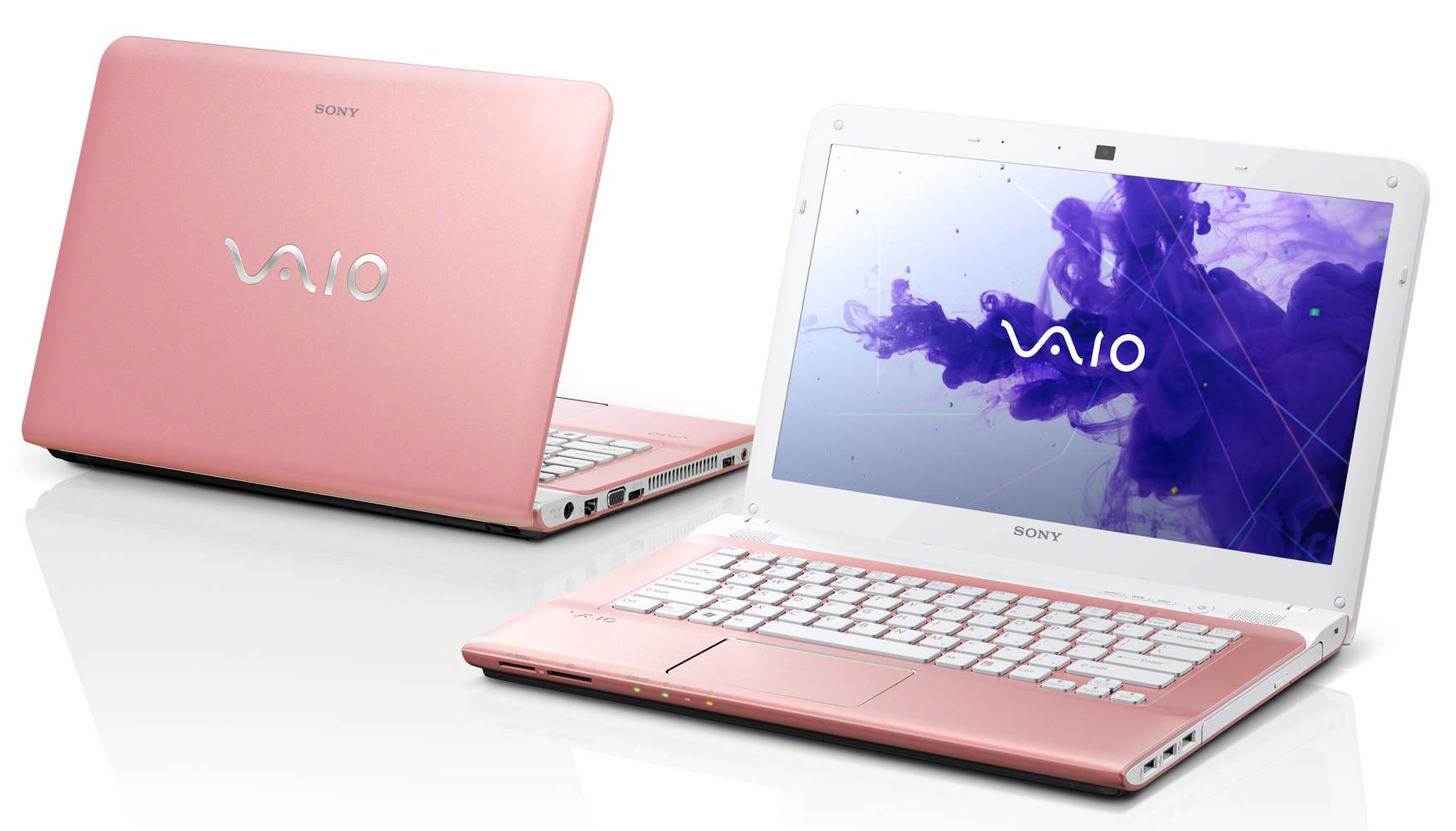 The 14-inch VAIO E Series laptop in pink, powered by Windows 8 ( view