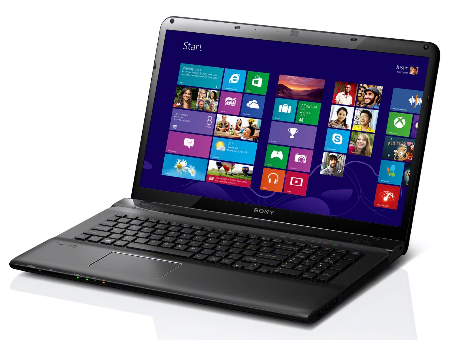 The 17.3-inch VAIO E Series laptop in black, powered by Windows 8