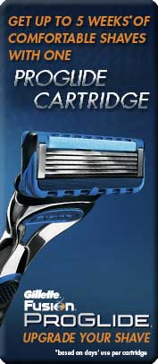 Get up to 5 weeks of Comfortable Shaves with one ProGlide Cartridge (based on days' use per cartridge)