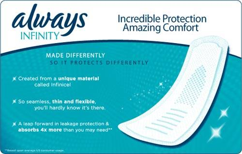 Always Infinity / Incredible Protection Amazing Comfort / Made Differently so it protects differently / Created from a unique material called Infinicel / So seamless, thin and flexible, you'll hardly know it's there. / A leap forward in leakage protection & absorbs 4x more than you may need
