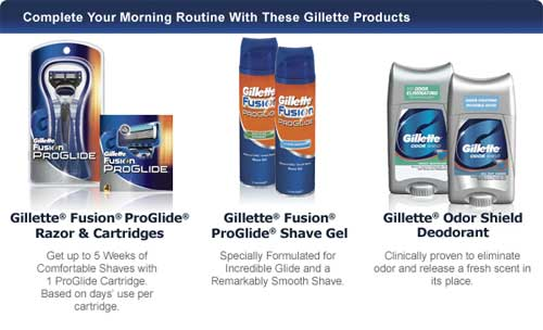 Complete Your Morning Routine - Gillette Fusion ProGlide Razor & Cartridges / Gillette Fusion ProGlide Shave Gel / Gillette Odor Shield Anti-Perspirant/Deodorant