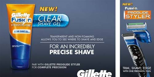Gillette Fusion ProGlide Clear Shave Gel - Transparent And Non-Foaming Allows You To See Where To Shave and Edge - For an Incredibly Precise Shave