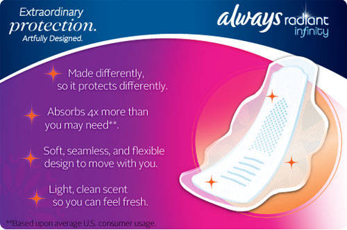 Always Radiant Infinity - Made differently, so it protects differently. / Absorbs 4x more than you may need**. / Soft, seamless, and flexible design to move with you. / Light, clean scent so you can feel fresh. **Based upon average U.S. consumer usuage.