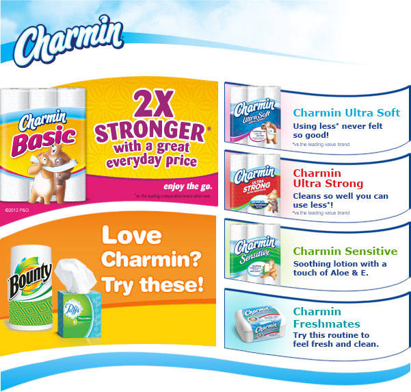 Love Charmin? Try Puffs Facial Tissues and Bounty Paper Towels / Also Try Charmin Ultra Soft / Also Try Charmin Ultra Strong, Charmin Sensitive and Charmin Freshmates