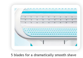 5 blades for a dramatically smooth shave