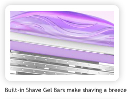 Built-in Shave Gel Bars make shaving a breeze