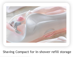 Shaving Compact for in-shower refill storage