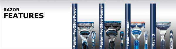 Razor Features: Fusion ProGlide Power, Fusion ProGlide Manual, Fusion Manual, Mach 3
