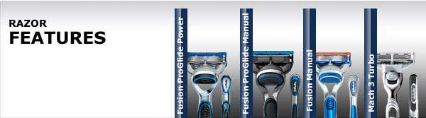 Razor Features: Fusion ProGlide Power, Fusion ProGlide Manual, Fusion Manual, Mach 3 Turbo