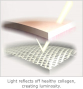 light reflects off healthy collagen, creating luminosity.