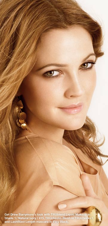 Get Drew Barrymore's look with TruBlend Liquid Makeup in Shade 1 / Natural Ivory / 415, TruCheeks Blush in TruCheeks 1, and LashBlast Length mascara in Very Black.