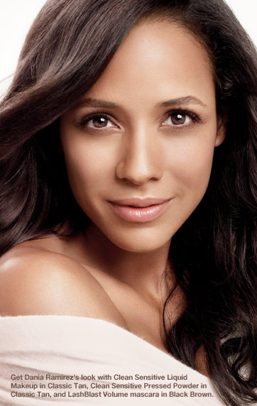 Get Dania Ramirez's look with Clean Sensitive Liquid Makeup in Classic Tan, Clean Sensitive Pressed Powder in Classic Tan, and LashBlast Volume mascara in Black Brown.