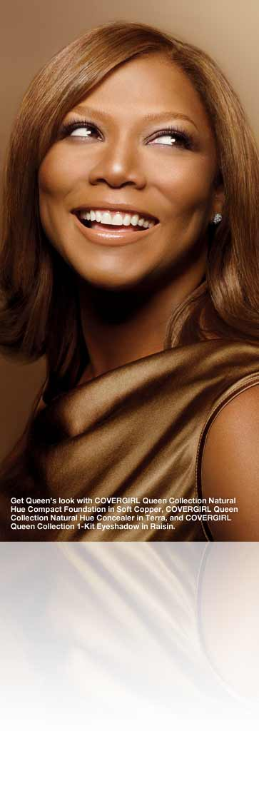Get Queen's look with COVERGIRL Queen Collection Natural Hue Compact Foundation in Soft Copper, COVERGIRL Queen Collection Natural Hue Concealer in Terra, and COVERGIRL Queen Collection 1-Kit Eyeshadow in Raisin.