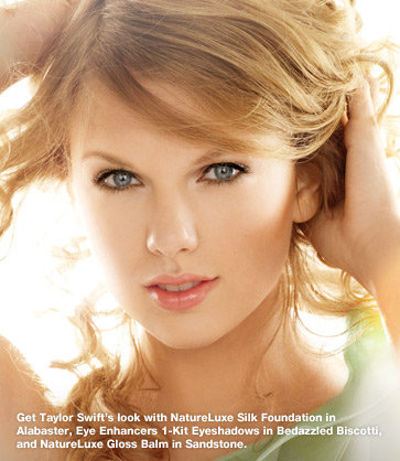 Get Taylor Swift's look with NatureLuxe Silk Foundation in Alabaster, Eye Enhancers 1-Kit Eyeshadows in Bedazzled Biscotti, and NatureLuxe Gloss Balm in Sandstone.