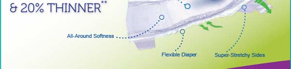 All-Around Softness, Flexible Diaper, Super-Stretchy Sides, Now with DRY MAX Technology