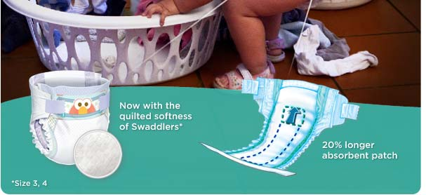Now with the quilted softness of Swaddlers (Size 3, 4). 20% longer absorbent patch.