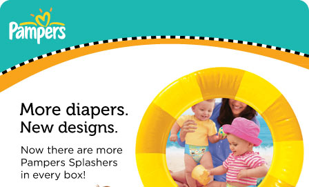 Pampers Splashers - More diapers. New designs. Now there are more Pampers Splashers in every box!