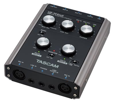 The four-channel Tascam US-144mkII USB audio interface.