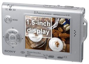 The Sony DSCT7's display