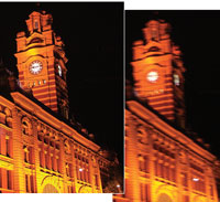 Clock tower with and without Anti-Shake