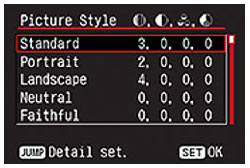 Canon Rebel XTi Picture Style settings