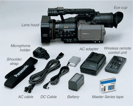 Accessories included with the AG-DVX100A